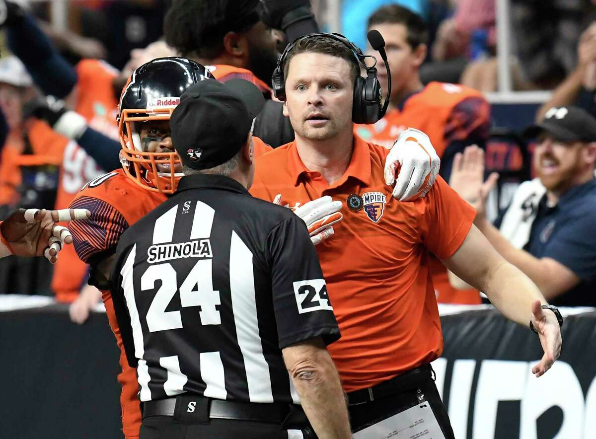 Albany Empire head coach Rob Keefe reacts to a play during a arena football game against the Philadelphia Soul Saturday, July 7, 2018, in Albany, N.Y. (Hans Pennink / Special to the Times Union)