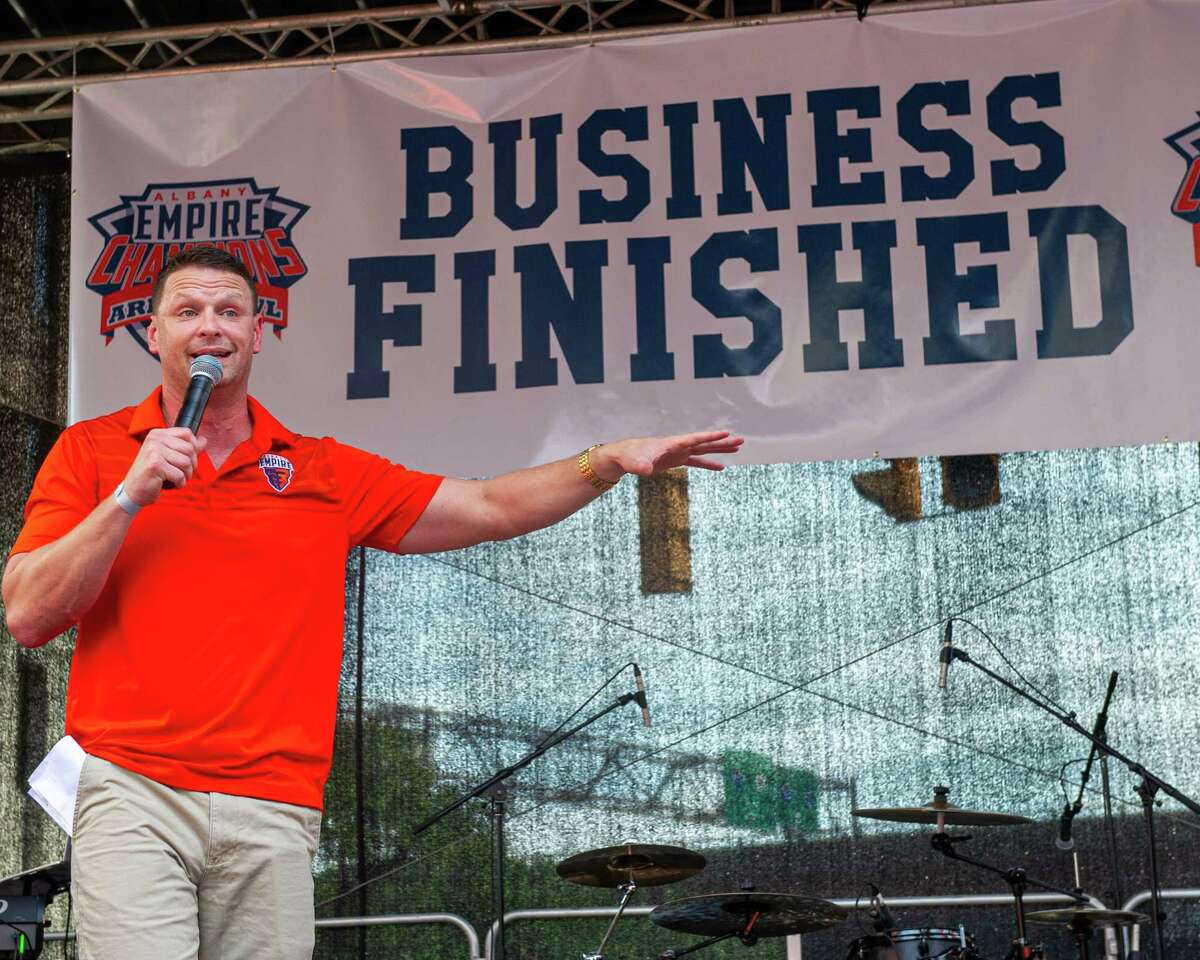 Rob Keefe, who was head coach of the Albany Empire before resigning Monday, speaks to the crowd during a block party held in front of Times Union Center in 2019. Keefe said he'll miss interacting with the Capital Region community. (Jim Franco/Special to the Times Union)