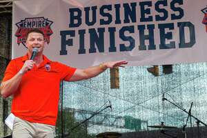 Albany Empire Head Coach Rob Keefe speaks to the crowd during a block party held in front of the Times Union Center on Saturday, Aug. 17, 2019, to celebrate the teama€™s Arena Bowl win (Jim Franco/Special to the Times Union.)