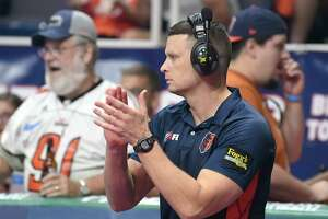 Albany Empire's head coach Rob Keefe applauds his players as they play the Philadelphia Soul during the ArenaBowl XXXII football game at the Times Union Center, Sunday, Aug. 11, 2019, in Albany, N.Y. (Hans Pennink / Special to the Times Union)
