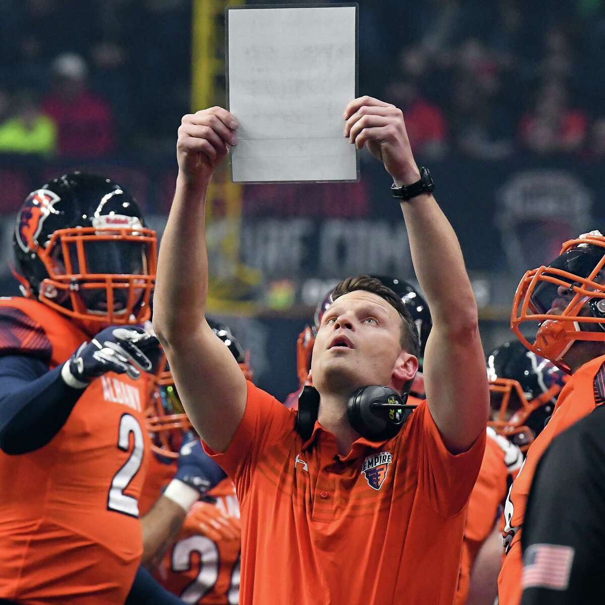 Albany Empire head coach Rob Keefe with players on the sidelines as they make their Arena Football League debut against the Philadelphia Soul to a packed house at the Times Union Center Saturday April 14, 2018 in Albany, NY. (John Carl D'Annibale/Times Union)