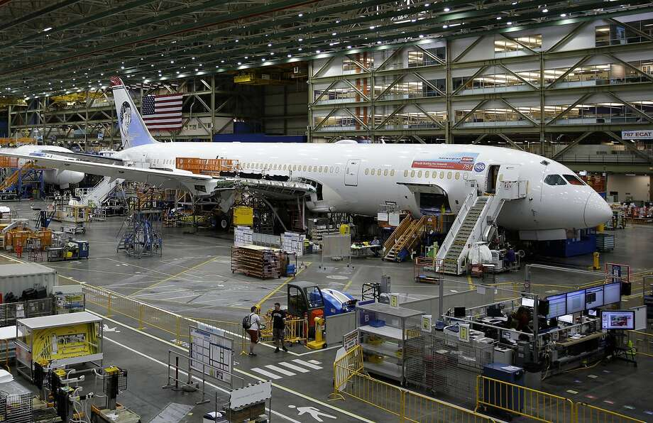 FILE - In this June 12, 2017, file photo, a Boeing 787 airplane being built for Norwegian Air Shuttle is shown at Boeing Co.'s assembly facility, in Everett, Wash. Boeing is dealing with a new production problem involving its 787 jet, in which inspections have found flaws in the way that sections of the rear of the plane were joined together. Boeing said Tuesday, Sept. 8, 2020, it's not an immediate safety risk but could cause the planes to age prematurely. (AP Photo/Ted S. Warren, File) Photo: Ted S. Warren, Associated Press