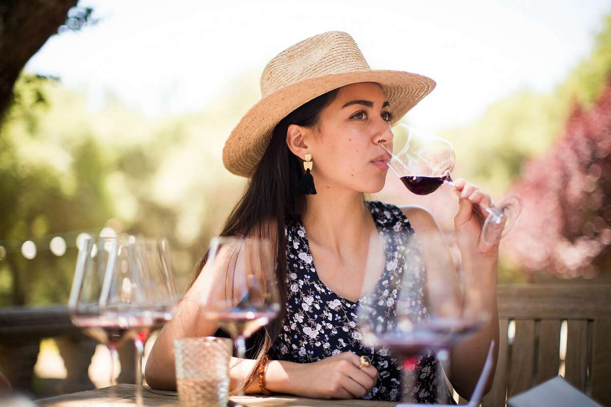 Noel Amick tastes wine at Reeve Wines in Healdsburg, California on June 29, 2017.
