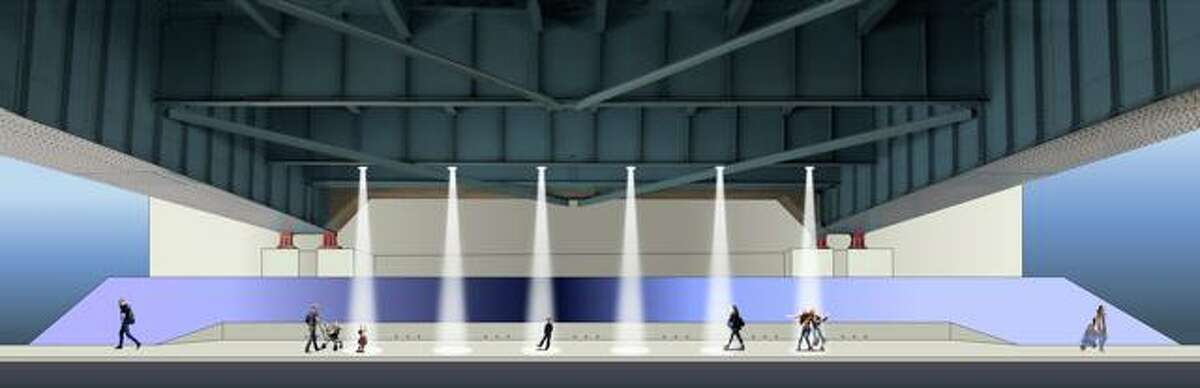 A rendering of the underpass public art installation.