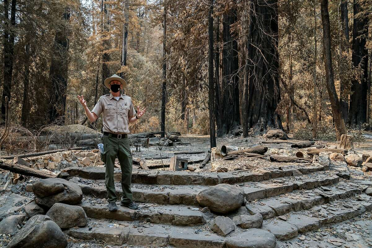 Santa Cruz State Park Superintendent Chris Spohrer, talks about the fire damage to the amphitheater at the Big Basin Redwoods State Park on Tuesday, Sept. 1, 2020 in Boulder Creek, Calif.