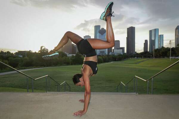 """Dr. Vanessa Barrow, a Bellaire podiatrist and is known as the """"hot doc in heels"""" on Instagram works out in Eleanor Tinsley Park Friday, Sept. 4, 2020, in Houston."""