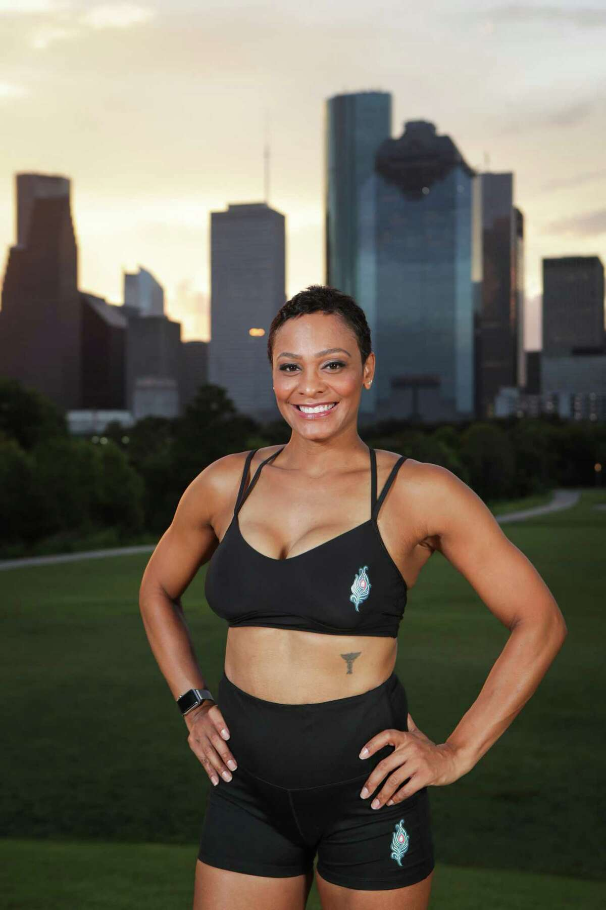 """Dr. Vanessa Barrow, a Bellaire podiatrist and is known as the """"hot doc in heels"""" on Instagram poses at Eleanor Tinsley Park Friday, Sept. 4, 2020, in Houston."""