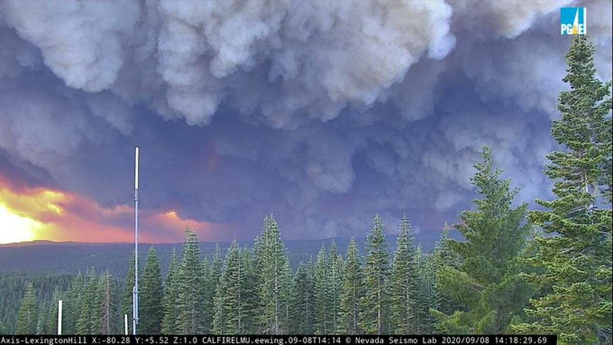 The North Complex fire burning in Plumas and Butte counties generated massive amounts of smoke Tuesday, Sept. 8, 2020.