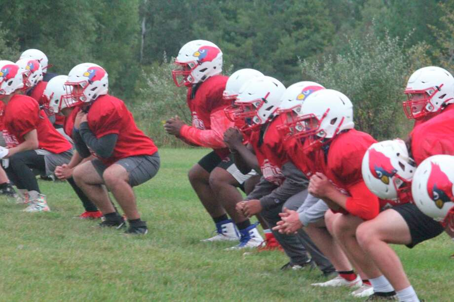Big Rapids football players work on drills during practices on Tuesday. (Pioneer photo/John Raffel)