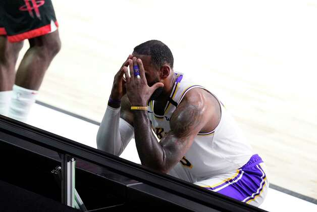 Los Angeles Lakers' LeBron James reacts after being called for a foul during the first half of an NBA conference semifinal playoff basketball game against the Houston Rockets Tuesday, Sept. 8, 2020, in Lake Buena Vista, Fla. (AP Photo/Mark J. Terrill) Photo: Mark J. Terrill, Associated Press / Copyright 2020 The Associated Press. All rights reserved.