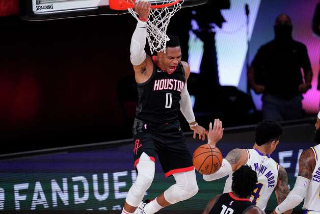 Houston Rockets' Russell Westbrook dunks over Los Angeles Lakers' Danny Green during the first half of an NBA conference semifinal playoff basketball game Tuesday, Sept. 8, 2020, in Lake Buena Vista, Fla. (AP Photo/Mark J. Terrill) Photo: Mark J. Terrill, Associated Press / Copyright 2020 The Associated Press. All rights reserved.