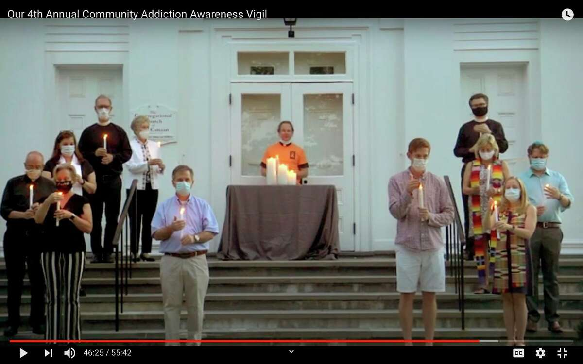 Clergy members from the New Canaan area pray for those fighting addiction and their families Wednesday, Sept. 2, during the Fourth Annual Addiction Awareness Vigil, forced to become an online event by the COVID-19 pandemic.