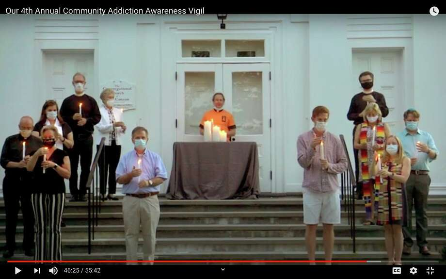 Clergy members from the New Canaan area pray for those fighting addiction and their families Wednesday, Sept. 2, during the Fourth Annual Addiction Awareness Vigil, forced to become an online event by the COVID-19 pandemic. Photo: Contributed Photo / New Canaan Advertiser Contributed