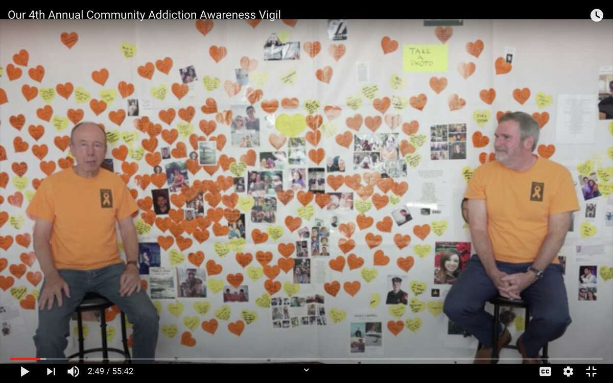 Paul Reinhardt, founder of the New Canaan Addiction Awareness Vigil, and John Hamilton, CEO of Liberation Programs, hosted the first virtual vigil in the event's history online on Wednesday, Sept. 2.