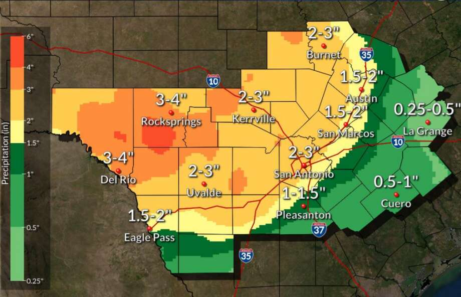 The National Weather Service has issued a flash flood watch for San Antonio as showers bring heavy rainfall through the area. Photo: National Weather Service