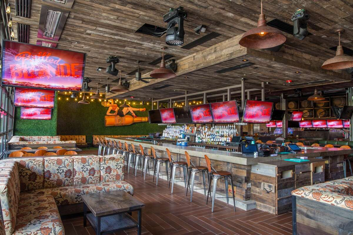 The casual restaurant, beer garden and sports hub, 10,000 square feet, features brewery-themed and pin-up girl decor, 40 high-definition TVs and two 24-foot projector walls. Picnic-style tables are located both inside and on the 1,500-square-foot patio.