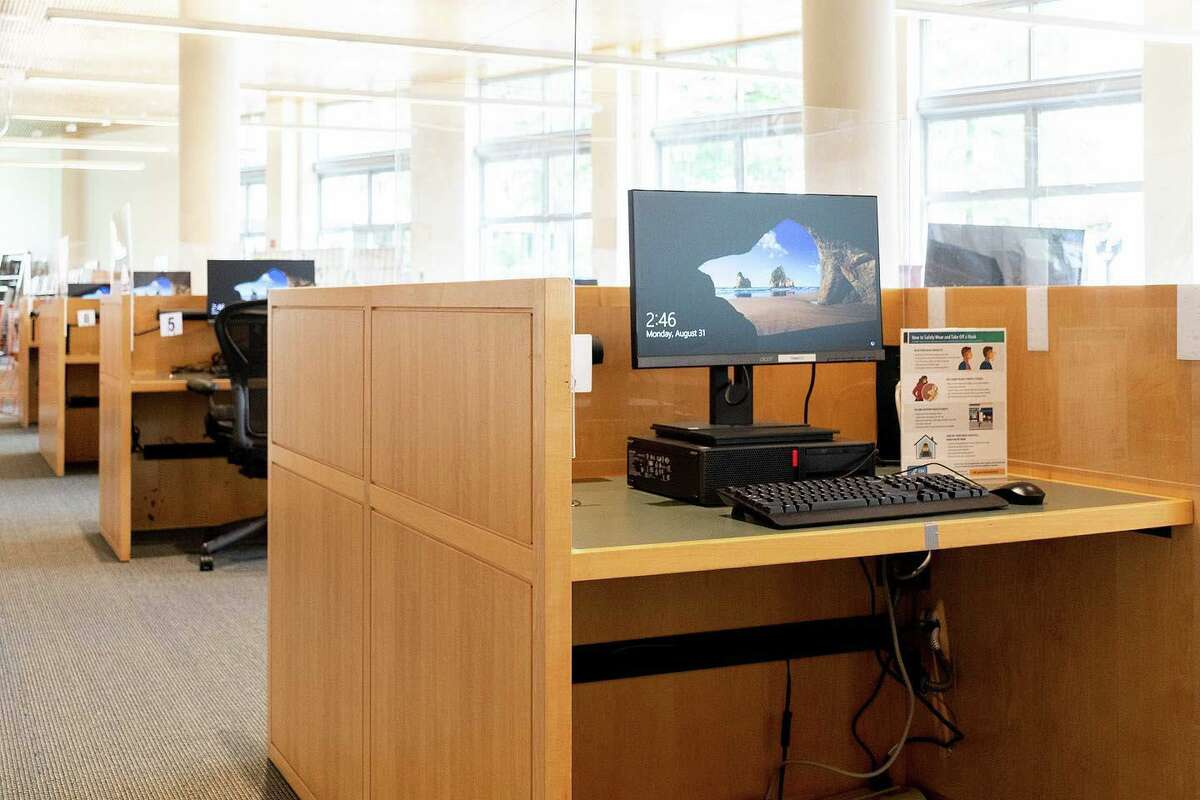 Computers are set up for use at the main branch of the Greenwich Library.