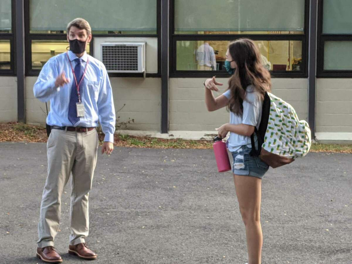 Central Middle School Principal Thomas Healy was quick to welcome students back to classes on the first day of school.
