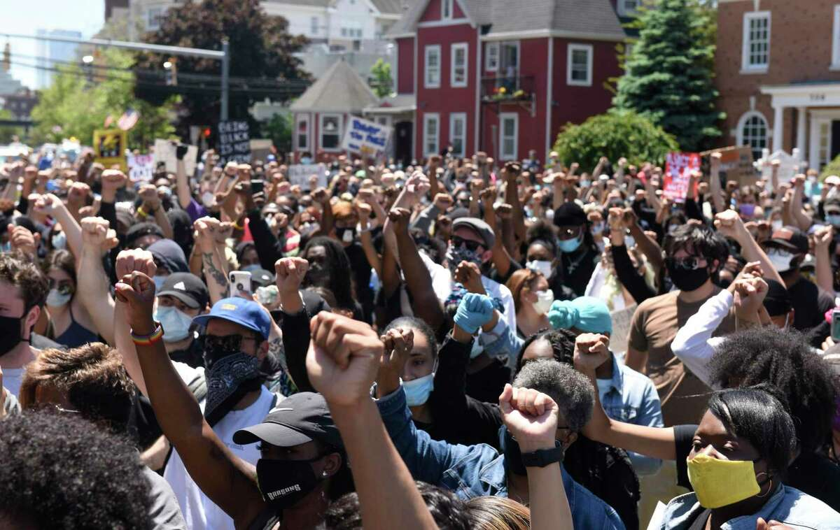 The #JusticeForBrunch Black Lives Matter protest in Stamford, Conn. Sunday, May 31, 2020.