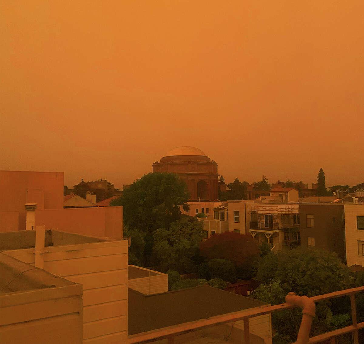 The orange sky above the Palace of Fine Arts on Sept. 9, 2020.