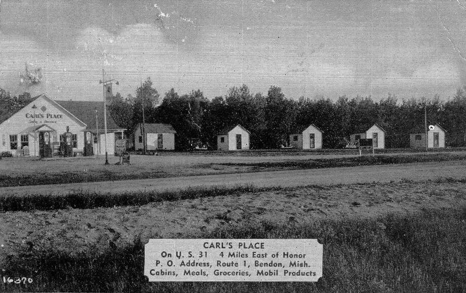 Carl's Place, circa 1940s, was agas station, store, restaurant and tiny tourist cabins at the corner of US 31 and C R 669, by the fish hatchery. (Courtesy Photo)