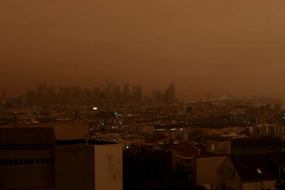 September 9, 2020 at 7:45 a.m. from Potrero Hill, looking onto the San Francisco skyline Photo: Courtney Sabo