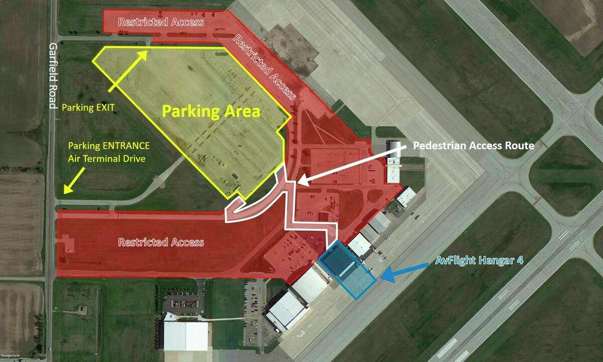This is the general parking plan and event layout for the Presidential visit on September 10, 2020. Please be aware that Garfield Road is closed between US-10 and Hotchkiss Road. (Photo provided/MBS International Airport)