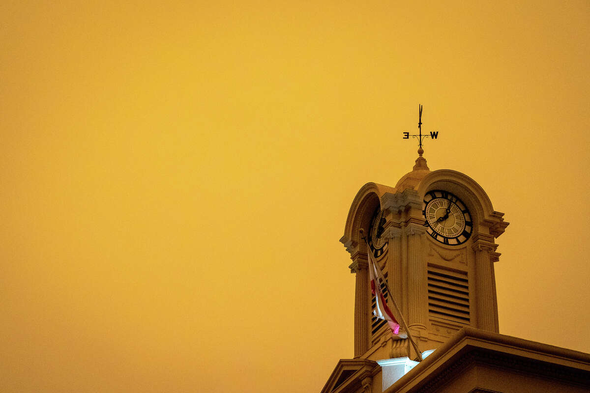 The orange sky above Santa Rosa Courthouse Square around 8:30 in the morning on Sept. 9, 2020.