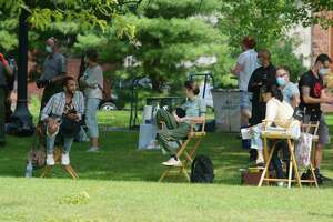 Cast members of the television show Modern Love wait to film a scene at Washington Park on Wednesday, Sept. 9, 2020, in Albany, N.Y.   (Paul Buckowski/Times Union)