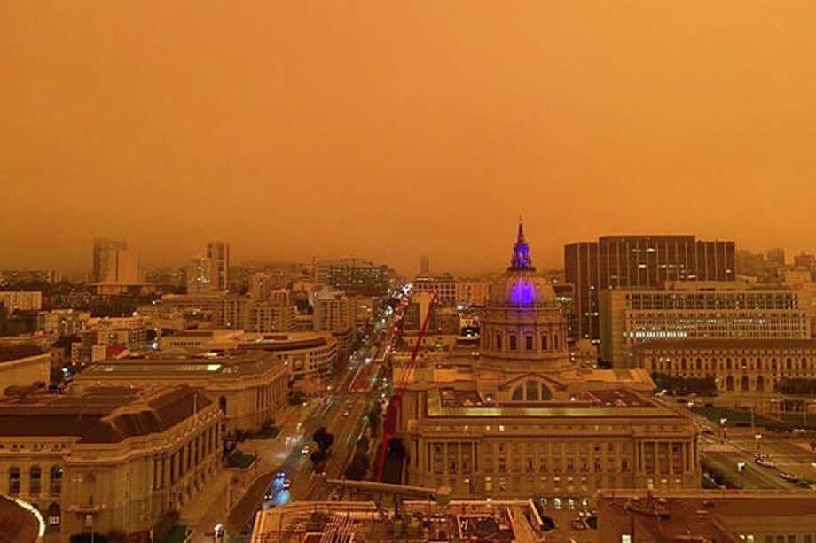 The orange sky above San Francisco on Sept. 9, 2020. Photo: Courtesy Photo
