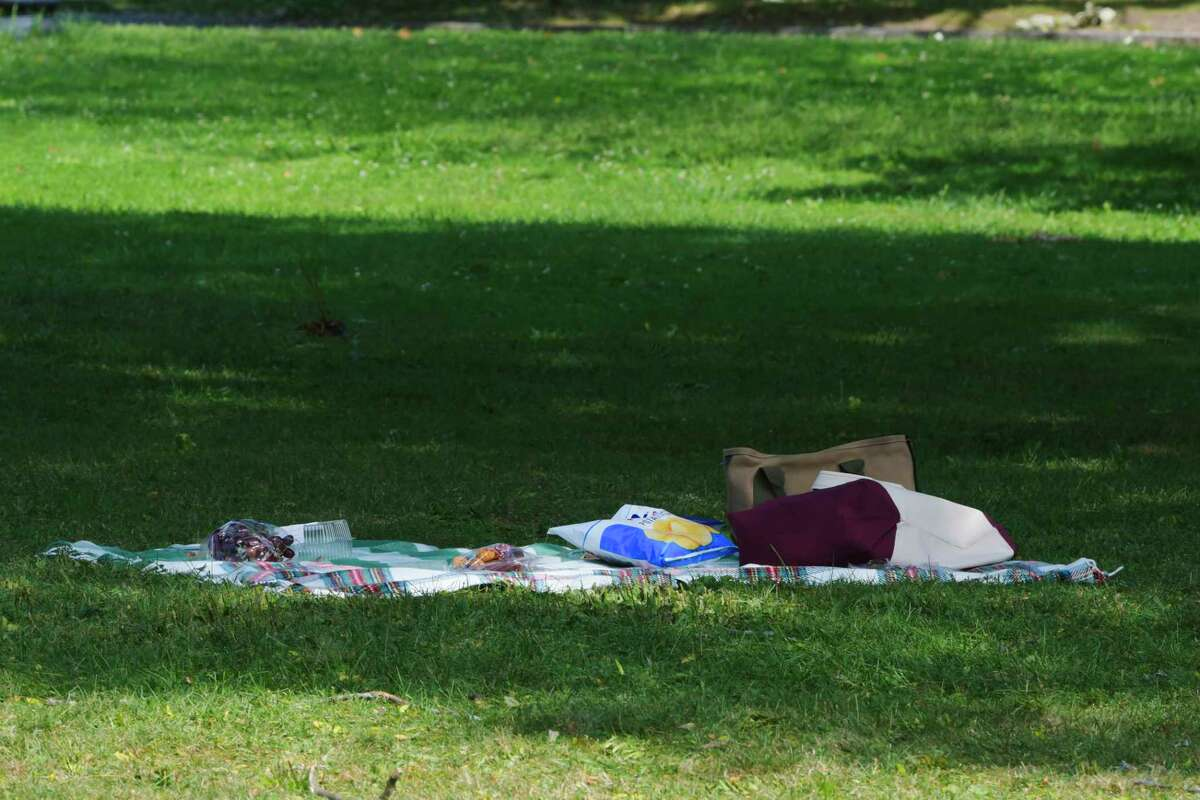 Items for a picnic are seen set up on the ground as crew and cast members of the television show Modern Love prepare to film a scene at Washington Park on Wednesday, Sept. 9, 2020, in Albany, N.Y. (Paul Buckowski/Times Union)