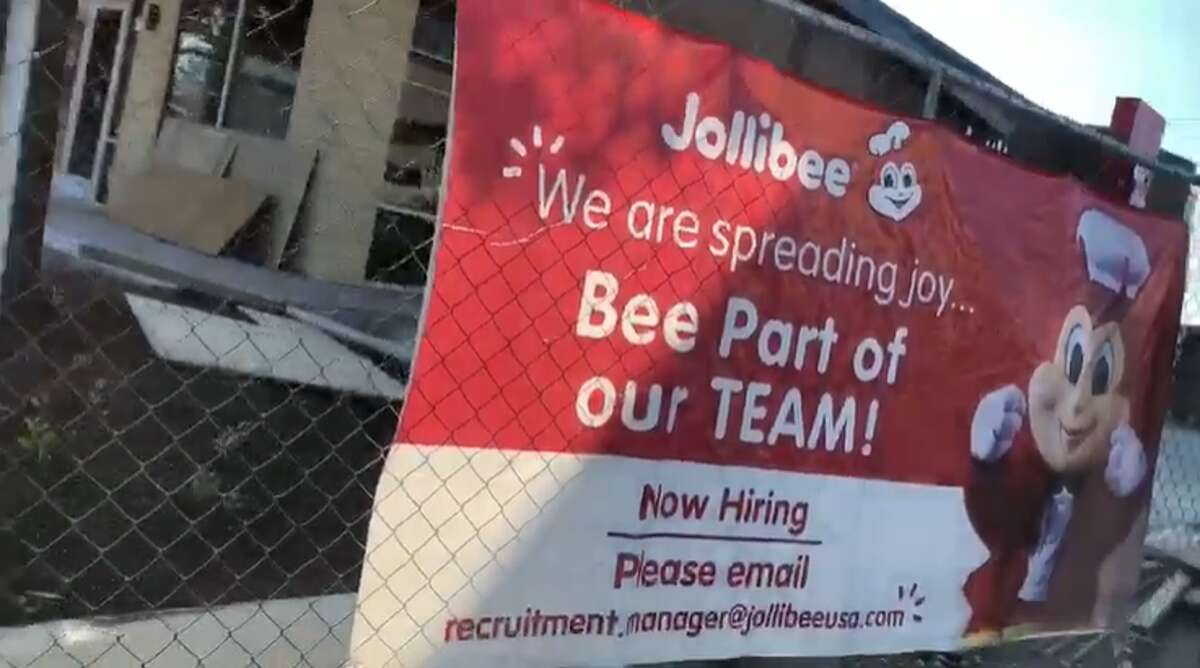 The photos and video she took showed the fast-food joint is hiring. A sign at the site read: