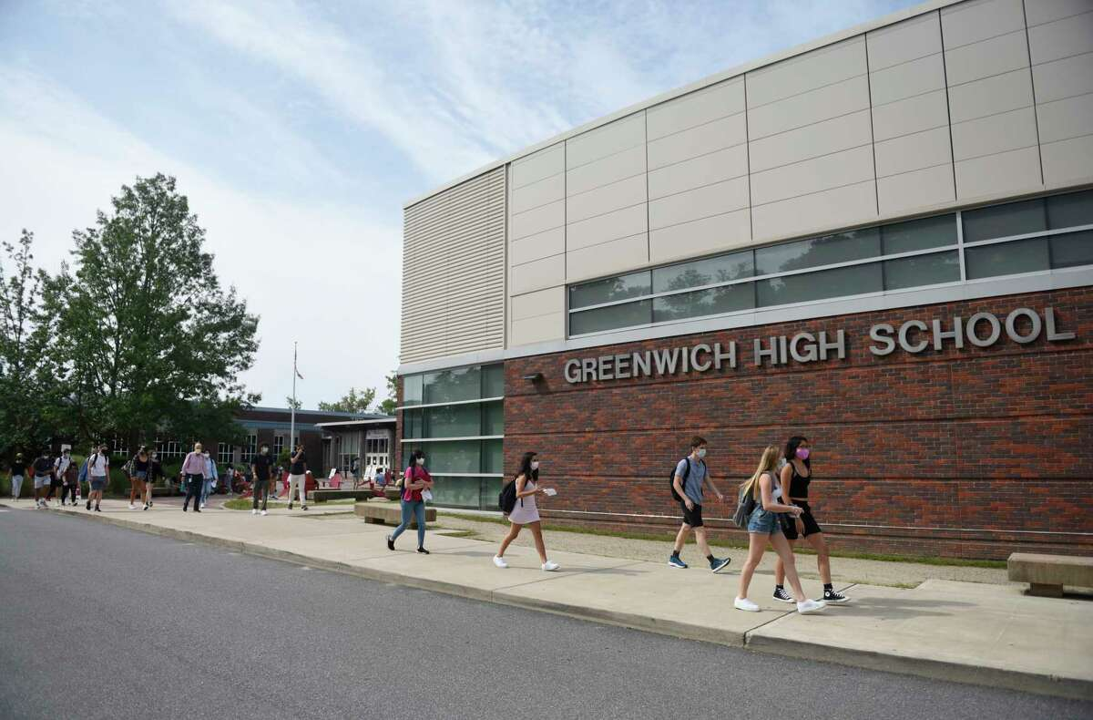 Students leave Greenwich High School on September 9. S