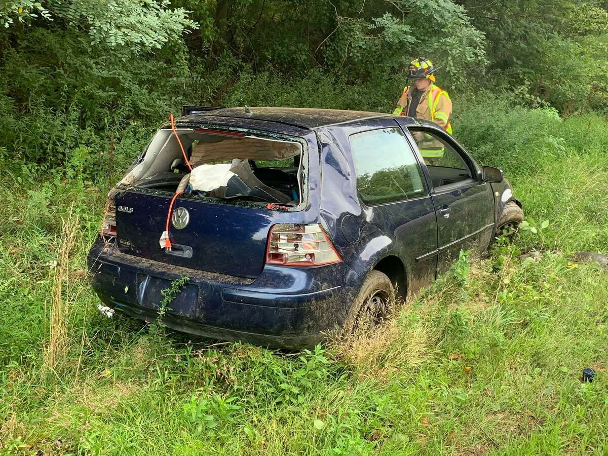 Fire units responded to a rollover crash on Route 8 south near Exit 13 in Shelton, Conn., on Tuesday, Sept. 9, 2020.