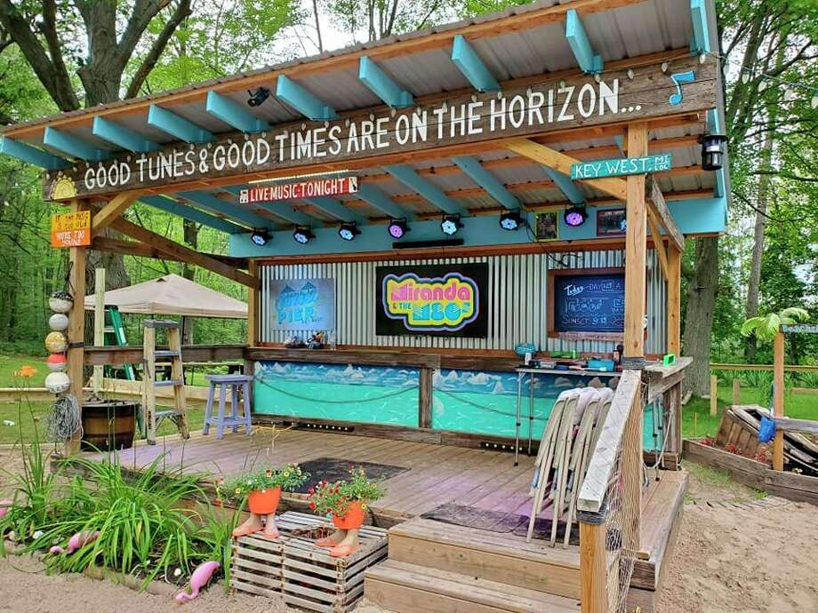 Tracey and Mark Lawson built a replica of the Sunset Peir stage from Key West, Florida in their Midland backyard. (Photo provided/Mark and Tracey Lawson)