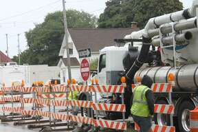 Barrels have been placed on the inner lanes of U.S. 31 from First St. to Ninth St. for sewer main upgrades.