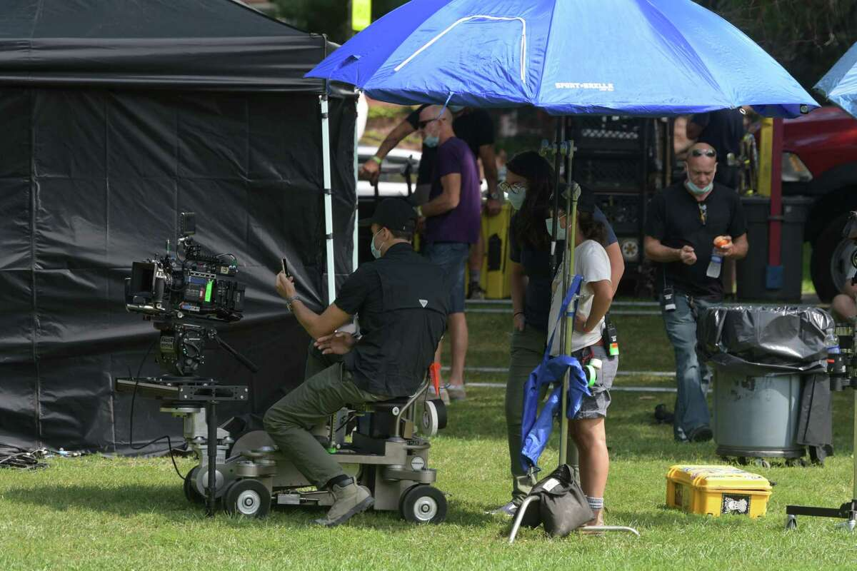 Crew and cast members of the television show Modern Love prepare to film a scene at Washington Park on Wednesday, Sept. 9, 2020, in Albany, N.Y. (Paul Buckowski/Times Union)