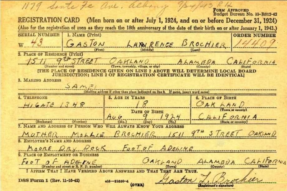 "Gaston ""Babe"" Brochier's draft card. Photo: Ancestry.com"