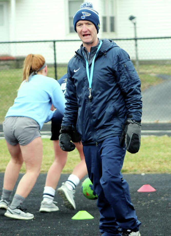 Scott Burney shouts instructions during girls soccer practice last March in Jerseyville. Burney, also the long-time boys soccer coach at Jersey, was preparing for his first season with the girls team after adding it to his duties at JCHS when the coronavirus shutdown struck. The boys soccer season has been moved to spring 2021, with the girls moving to a new summer season. Photo: Pete Hayes | The Telegraph