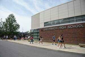 Students gather at Greenwich High School in Greenwich, Conn. Wednesday, Sept. 9, 2020.
