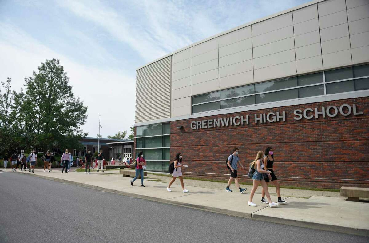 Students on the first day of school at Greenwich High School in Greenwich, Conn. Wednesday, Sept. 9, 2020.