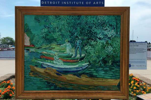 "Vincent van Gogh's ""Bank of the Oise at Auvers"" is currently on display at the Grand Pario park along Loomis Street as part of the Detroit Institute of Arts' Inside