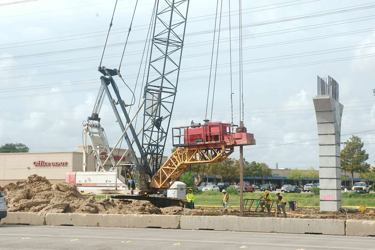 Construction crews and heavy equipment are visible along FM 146. Road closures this fall on FM 2094 and FM 518 in the area are related to construction for the foundation of a bridge on Texas 146.