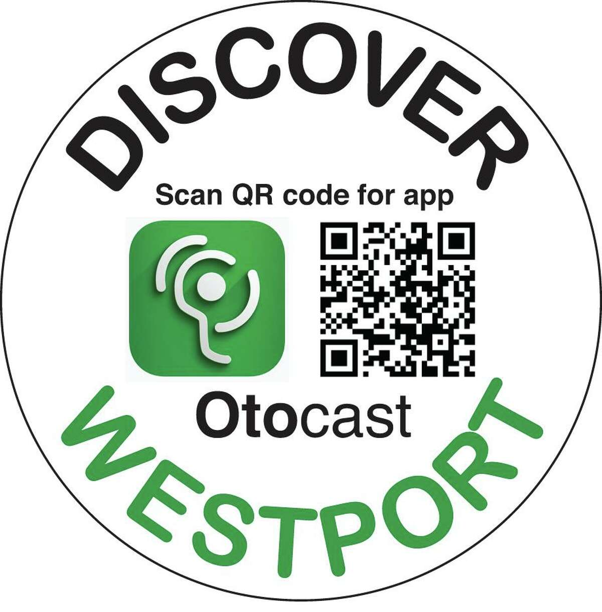 Look for this sticker around town, identifying points of interests on Otocast, and aim your iPhone or Android camera at the QR code to get the app.
