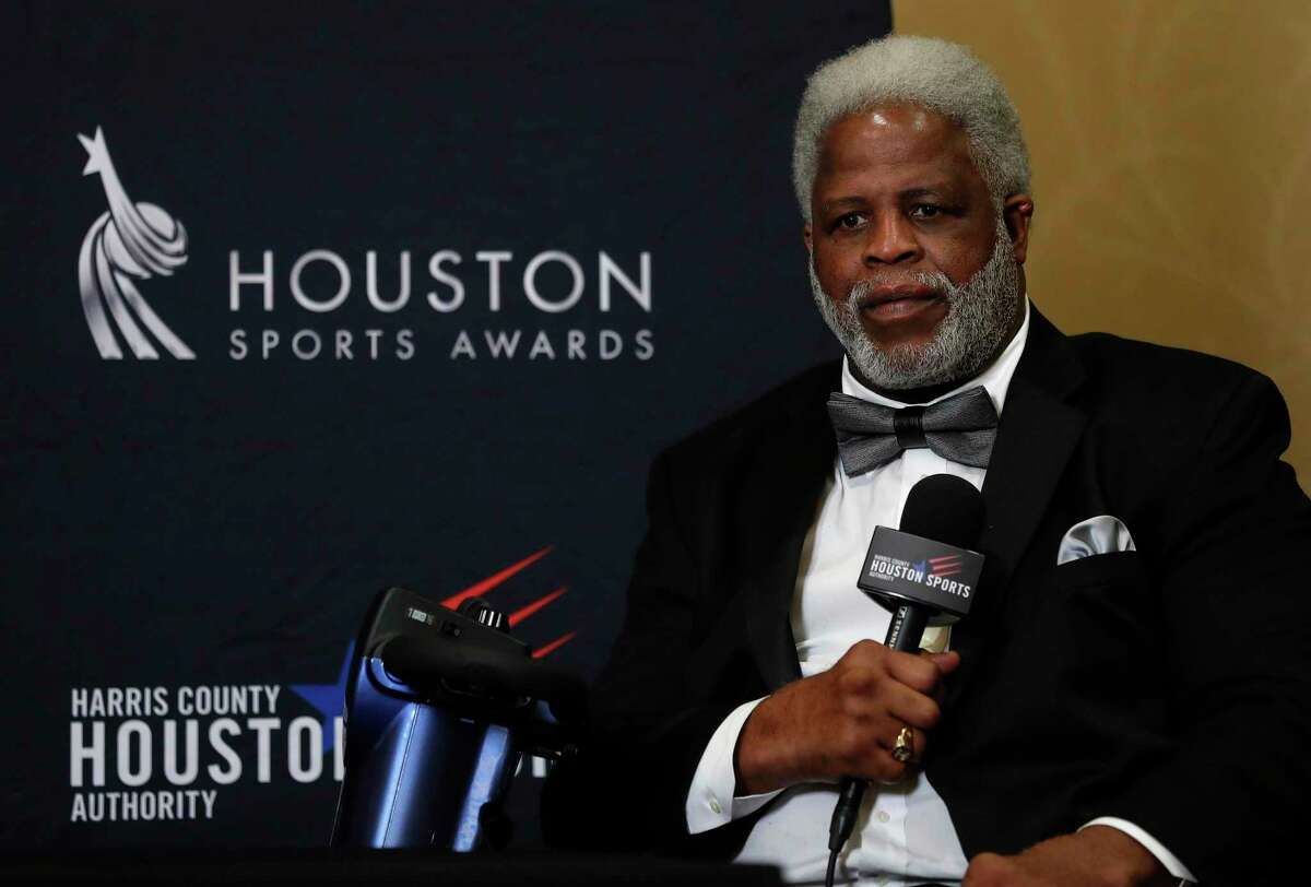 Earl Campbell, at the Houston Sports Awards in 2018, is honored to have his name placed on the field at Darrell K Royal-Memorial Stadium but understands there are more importan things.