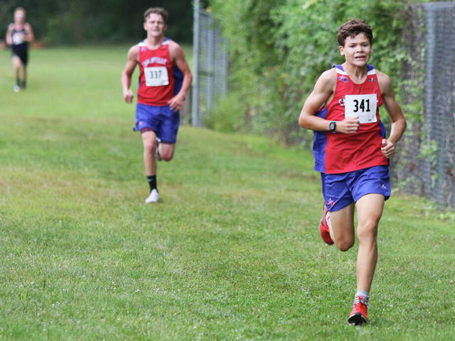 Carlinville freshman Will Meyer (right) approaches the finish with sophomore teammate Brody Harris right behind for the Cavaliers 2-3 finish in their season-opening Carlinville Early Meet on Sept. 1 at Loveless Park in Carlinville. Photo: Greg Shashack / The Telegraph