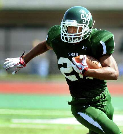 Shen's Bronson Greene (23) carries the ball during their scrimmage with Union-Endicott. (Cindy Schultz / Times Union) Photo: Cindy Schultz