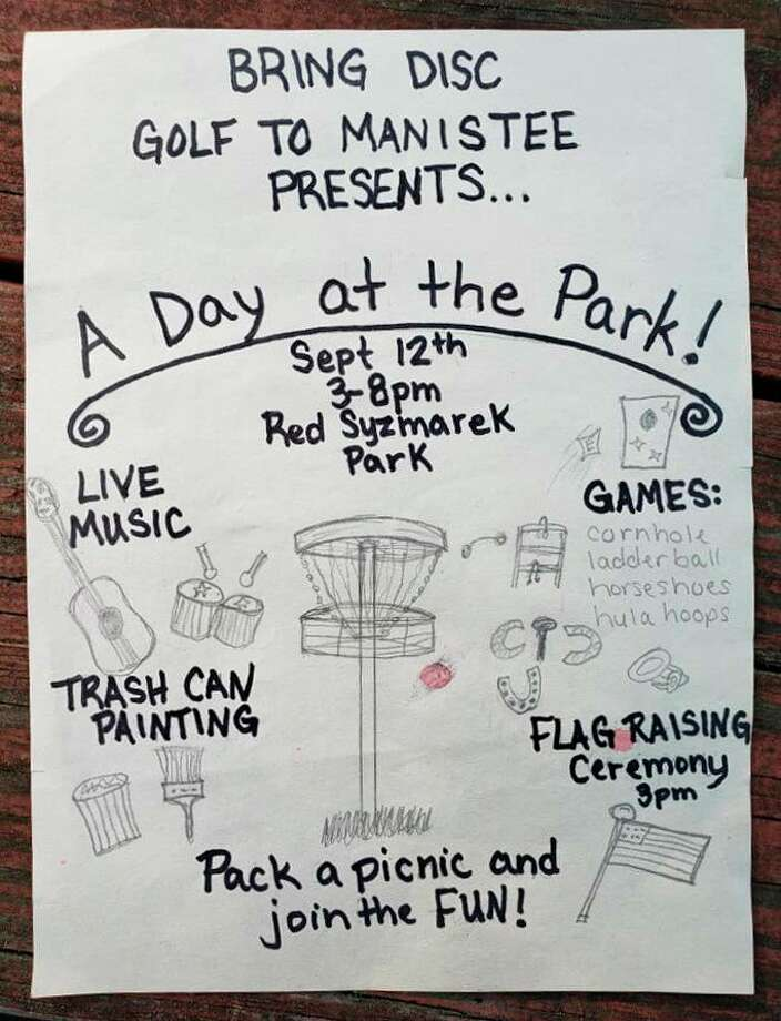 "A local 8-year-old designed the flyer for Bring Disc Golf to Manistee's ""A Day at the Park"" event to be held at Red Szymarek Park on Saturday at 3 p.m. (Courtesy photo)"