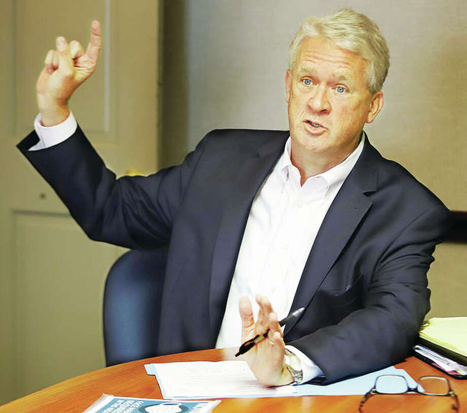 Illinois House Republican Leader Jim Durkin gestures Wednesday while discussing the investigative hearing set to start Thursday on allegations against Speaker Michael J. Madigan. Durkin was joined in his Alton visit by Republican state representative candidates Amy Elik of Fosterburg and Lisa Ciampoli of Collinsville.
