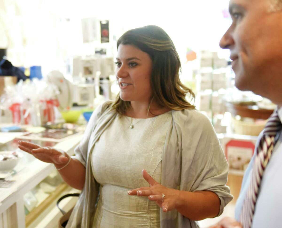 New Britain Mayor and Leiutenant Governor candidate Erin Stewart tours local businesses to drum up support for Stewart's campaign in Greenwich, Conn. Wednesday, Aug. 8, 2018.